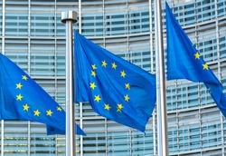 European Union flags waving in the wind in Brussels