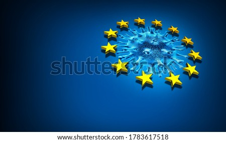European Union health care and Europe or EU pandemic as coronavirus or covid-19 in France Germany Italy and England as a 3D render.
