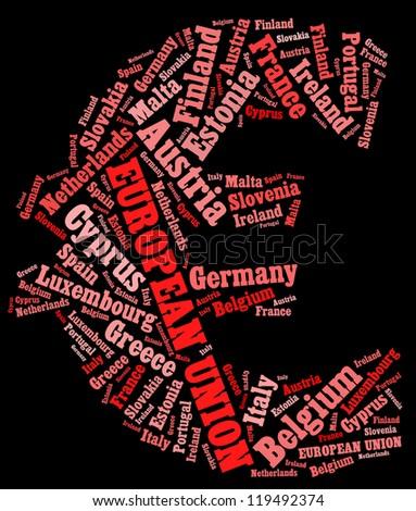 European Union info-text graphics and arrangement concept (word cloud) on black background