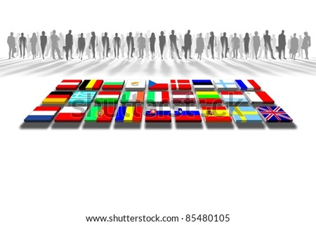 European Union people and flags