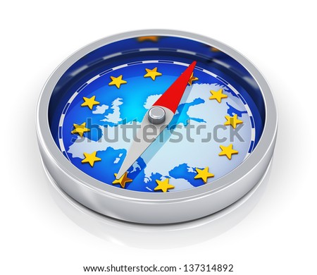 European Union political concept: metal magnetic compass with blue map of Europe with golden stars isolated on white background with reflection effect