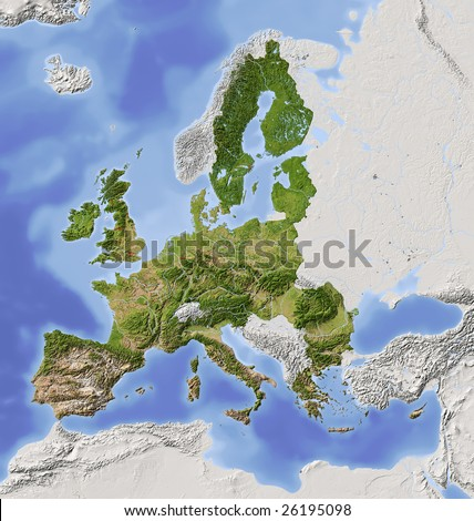 European Union. Shaded relief map with  major urban areas. Territory outside the union greyed out. Colored according to vegetation.  Includes two clip paths for the land and the european union.