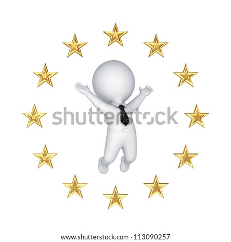 European Union symbol and happy 3d small person.Isolated on white background.