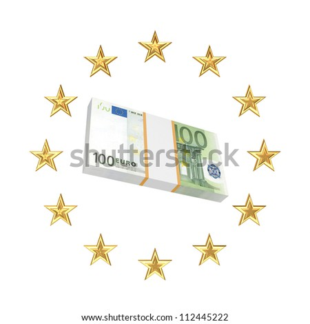 European Union symbol and pack of euro.Isolated on wihte.3d rendered.