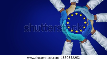 European United health workers and essential EU hospital care workers and frontline medical group or Europe medicine teamwork as a group of doctors and nurses together in a 3D illustration style.