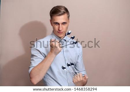 European white guy with spoons.
