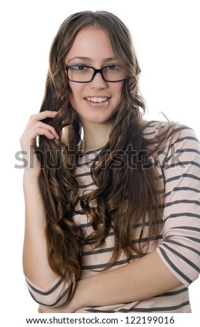 European woman standing against white background
