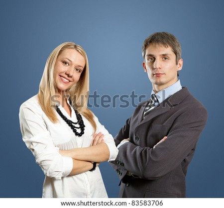 european young businesswoman and businessman with folded hands