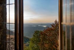Europen nature in open window