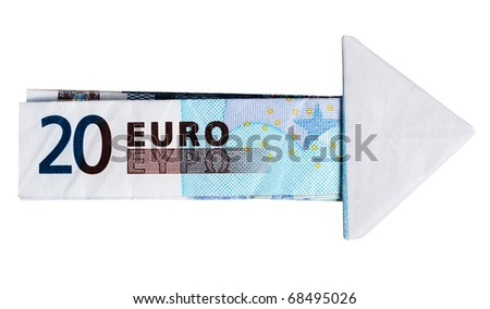 Euros arrow from notes - money, financial concept, isolated