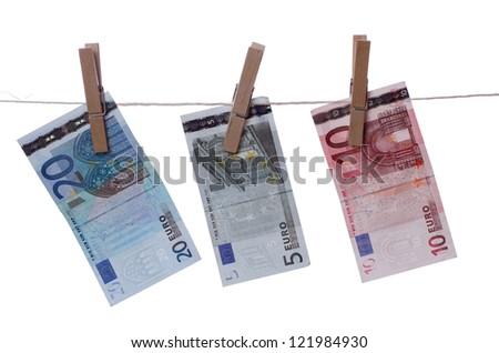 euros drying on line - stock photo