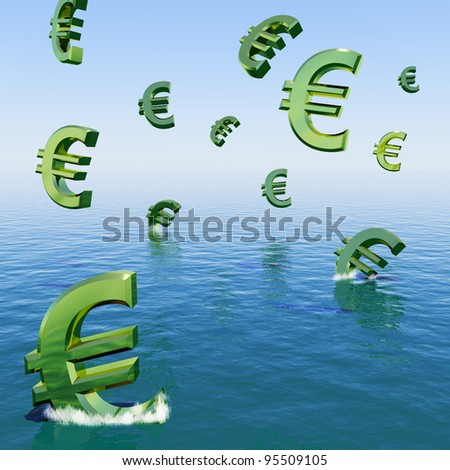 Euros Falling In The Sea Showing Depression Recession And Economic Downturns - stock photo