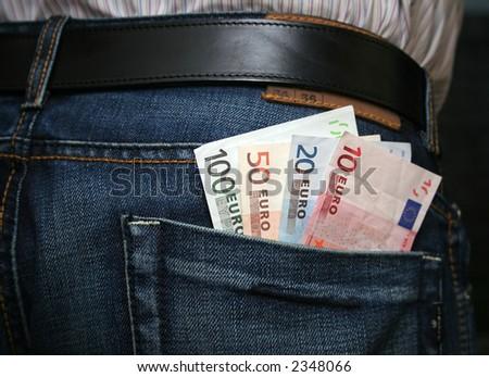 Euros in back pocket Foto stock ©