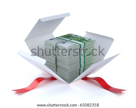 Euros in the gift box