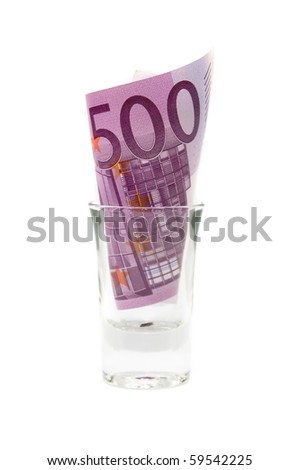 Euros in the glass isolated over white background - stock photo
