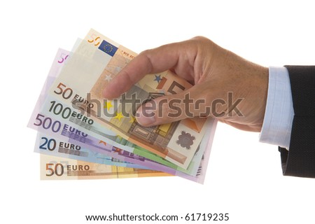 euros money in hand