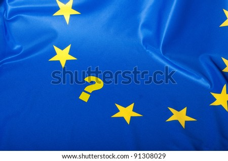 Euroscepticism - Detail of Silky Flag of Blue European Union EU Flag Drapery With Question Mark