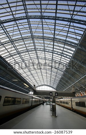 Eurostar trains in the station of st pancras, london, england