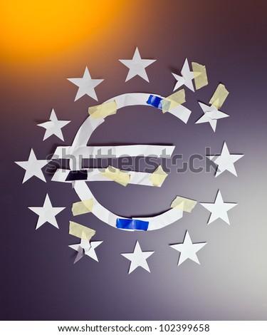 Eurozone crisis, the conceptual image. - stock photo
