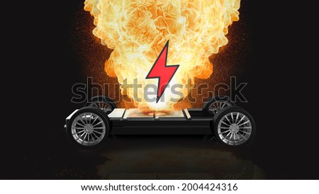 EV battery on fire and burning, electric vehicle lithium ion. hard to extinguish a fire on a car battery. lithium-ion battery with ev car logo and fire on the back burn. 3d rendering. Foto stock ©