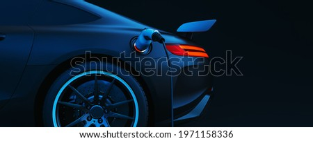 EV Electric car silhouette with low battery charging at electric charge station. 3d render and illustration. Stockfoto ©