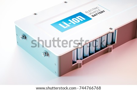EV (electric vehicle) Li-Ion battery concept. Close up view. 3d rendering.