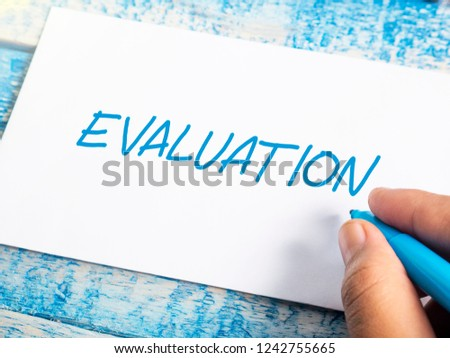 Evaluation, business audit monitoring review quotes, words typography lettering concept #1242755665