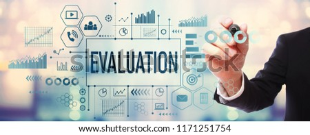 Evaluation with businessman on blurred abstract background #1171251754