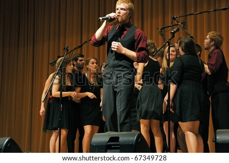 EVANSTON, ILLINOIS- NOVEMBER 13: A cappella singing group Redefined of the University of Wisconsin-Madison performs in The Best of the Midwest Concert on November 13, 2010 in Evanston, Illinois.