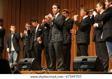EVANSTON, ILLINOIS- NOVEMBER 13: A cappella singing group Straight No Chaser of Indiana University performs in The Best of the Midwest Concert on November 13, 2010 in Evanston, Illinois.