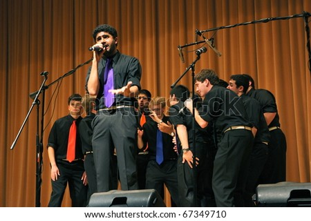 EVANSTON, ILLINOIS- NOVEMBER 13: A cappella singing group The Stereotypes of Washington University performs in The Best of the Midwest Concert on November 13, 2010 in Evanston, Illinois.