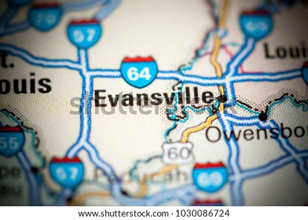 Evansville. USA on a map.