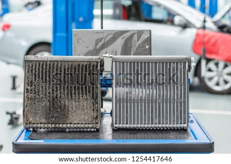 Evaporator Coils For car Comparison Dirty with Evaporator Coils car New is a spare part to help cool inside the car.