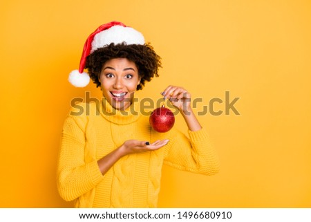 Eve noel is coming concept. Closeup photo of pretty cute dreamy excited positive girl holding showing beautiful round decoration in hand isolated bright color background #1496680910