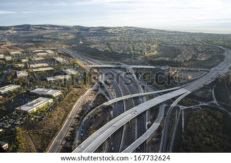Evening aerial photo of Newport Beach/Newport Coast/Low altitude photos of Orange County California