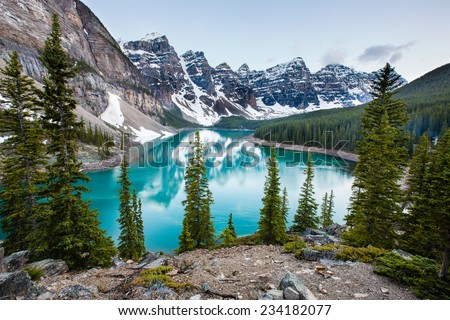Evening at Moraine Lake taken from the rockpile. It is probably the most iconic Canadian lake. #234182077
