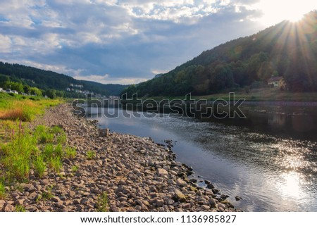 Evening at the river Elbe in Saxon Switzerland in Germany