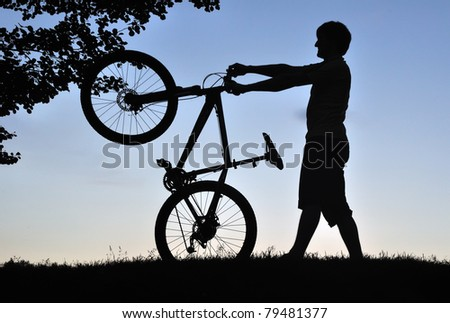 evening biker - stock photo