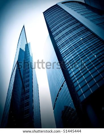 evening blue glass business center - stock photo
