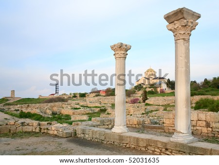 Evening Chersonesos (ancient town) and St Vladimir's Cathedral (Sevastopol, Crimea, Ukraine) - stock photo