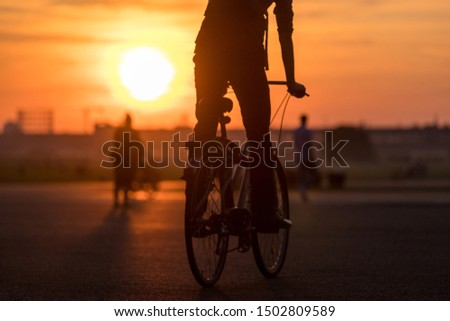 evening city sundown with a bicycle #1502809589
