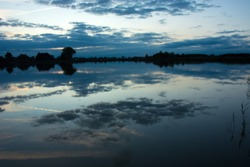 Evening clouds in the blue sky reflecting in the water of a calm lake, horizon and trees on the shore