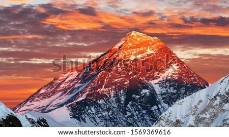Photo of  Evening colored view of Mount Everest from Gokyo Ri, Khumbu valley, Solukhumbu, Sagarmatha national park, Nepal
