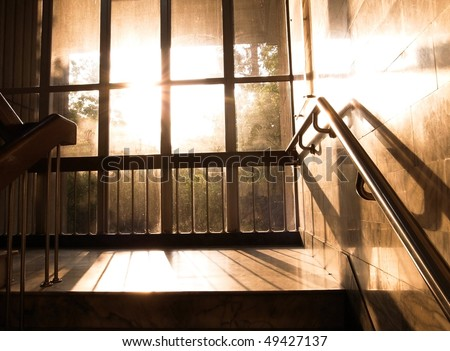 Evening glow under the stairs Library
