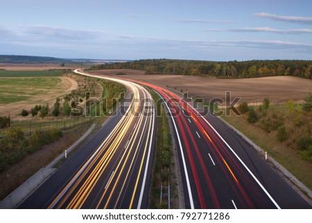 evening highway, night highway #792771286