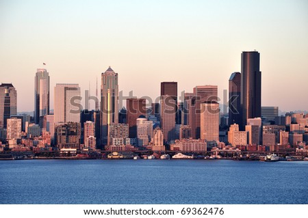 Evening in the Seattle downtown