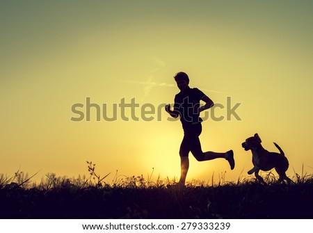 Evening jogging with beagle pet