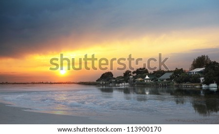 evening landscape at the lake with sunset