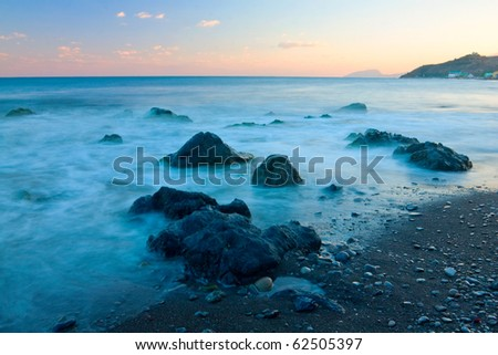 Evening landscape on sea