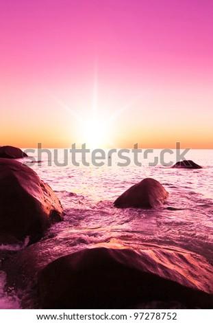 Evening Landscape Pink Sunset - stock photo